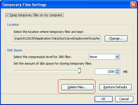 Temporary files settings dialog box