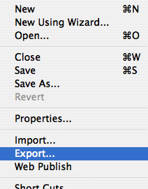 Menu file export
