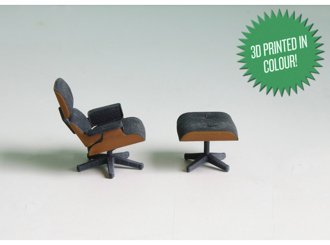 The Mini Eames Lounge Chair By Kspence Is A 1:20 Scale Miniature Is About 2  Inches Tall And At Just Over $25 As A Full Color 3D Print Is 1:67th The  Cost ...