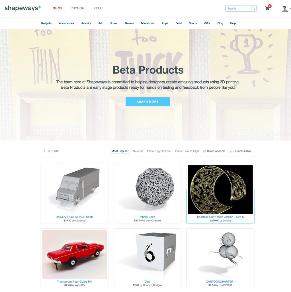 Beta products on Shapeways